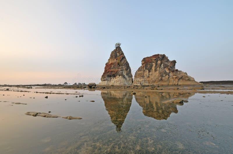 Sawarna great rock. Sunrise of Great rock at sawarna beach in banten, indonesia stock images
