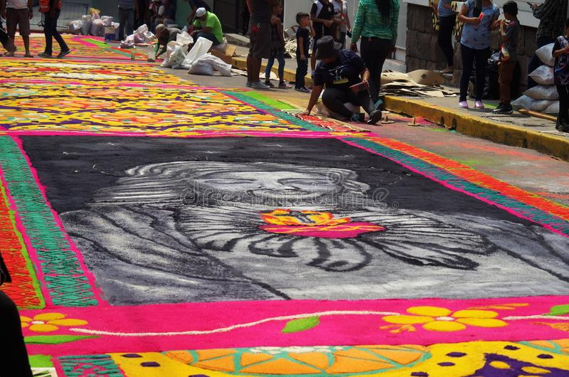 Sawdust colored carpets preparation religious summer celebration Tegucigalpa Honduras 2019 19 royalty free stock photography