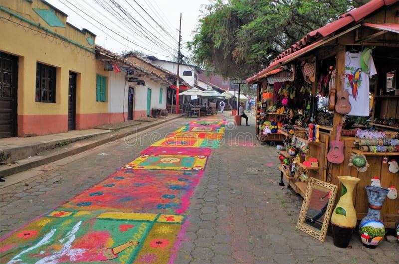 Sawdust colored carpets preparation religious summer celebration Tegucigalpa Honduras 2019 15 stock photography