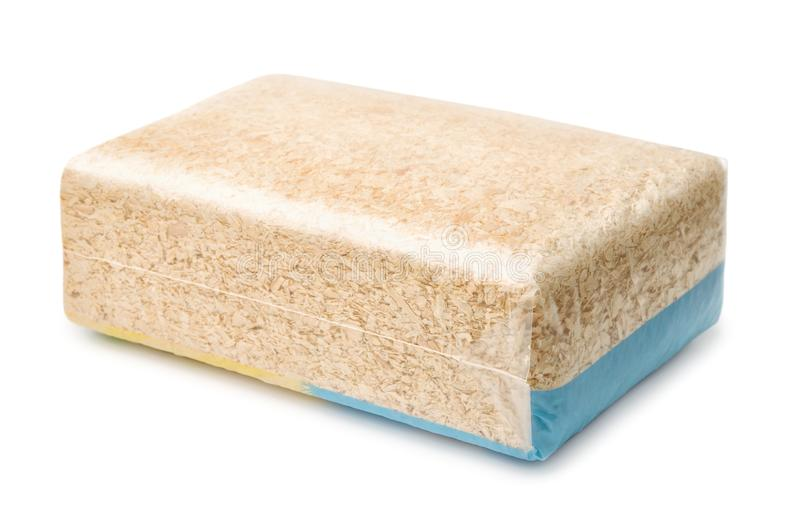 Sawdust plastic pack stock image