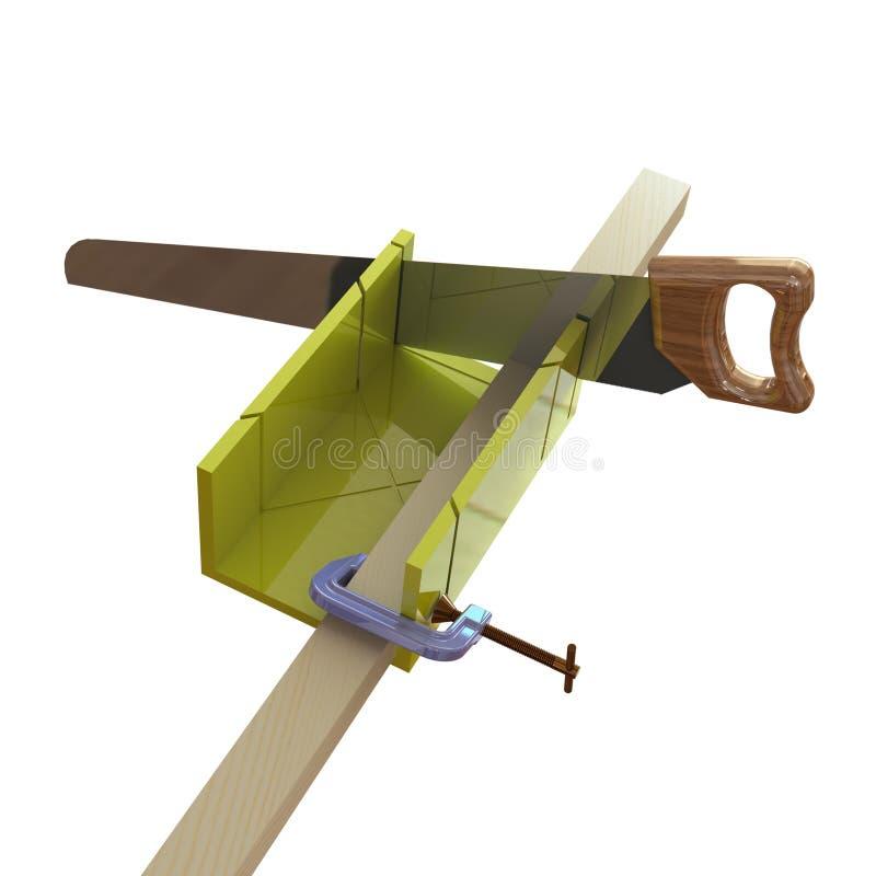 sawing di legno della barra 3D fotografie stock libere da diritti