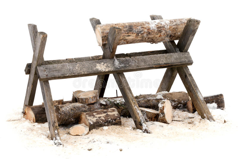 Sawing log on wooden stand royalty free stock images