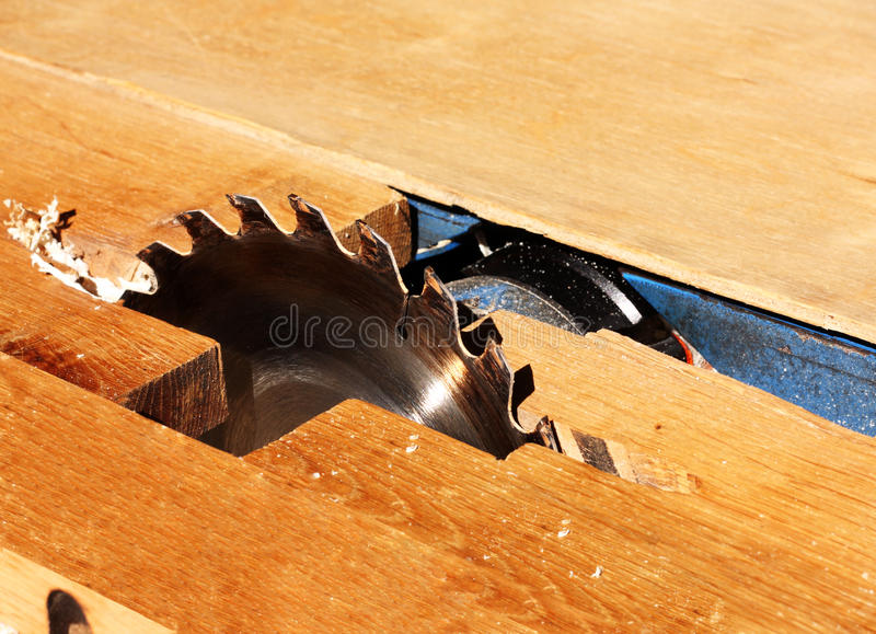 Sawing machine for wood processing stock photography