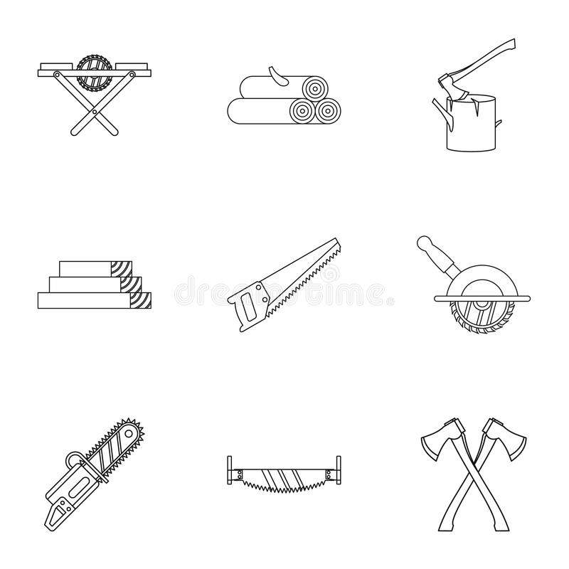 Sawing woods icons set, outline style royalty free illustration