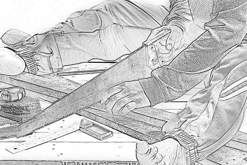 Sawingholz Tischler der Skizze männliches Am Arbeitsplatz Hintergrundhandwerkerwerkzeug Zoom in1 stockfotografie