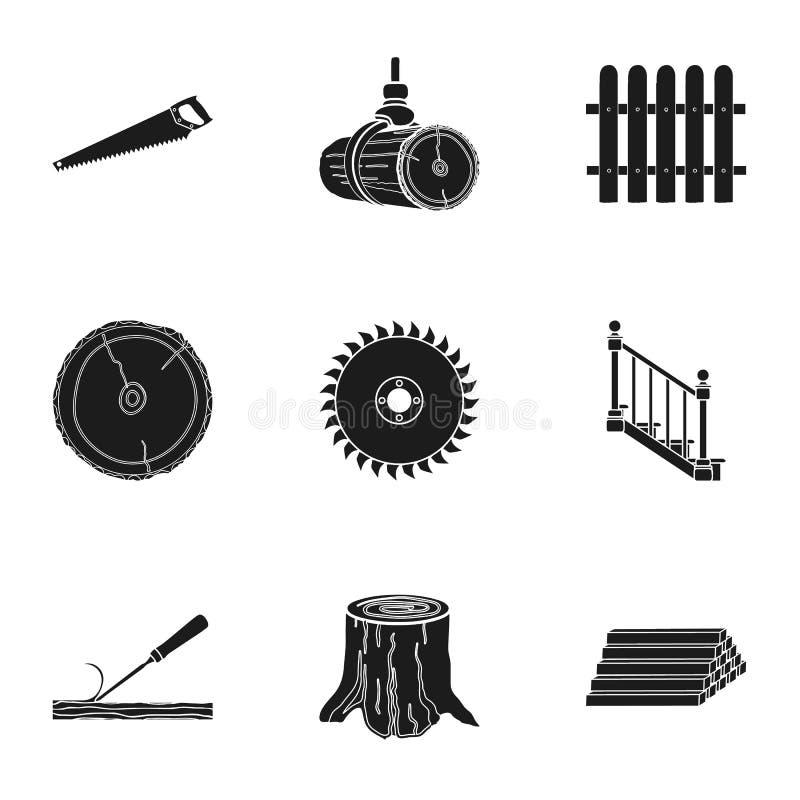 Sawmil ed icone stabilite del legname nello stile nero Grande raccolta della segheria e del legname illustrazione vettoriale