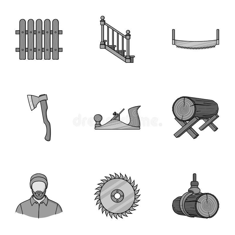 Sawmil und gesetzte Ikonen des Bauholzes in der einfarbigen Art Große Sammlung der Sägemühle und Bauholz vector Illustration des  lizenzfreie abbildung