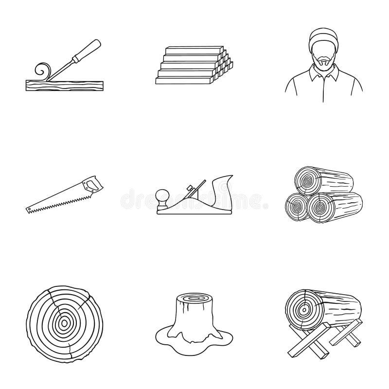 Sawmil und gesetzte Ikonen des Bauholzes in der Entwurfsart Große Sammlung der Sägemühle und Bauholz vector Illustration des Symb vektor abbildung