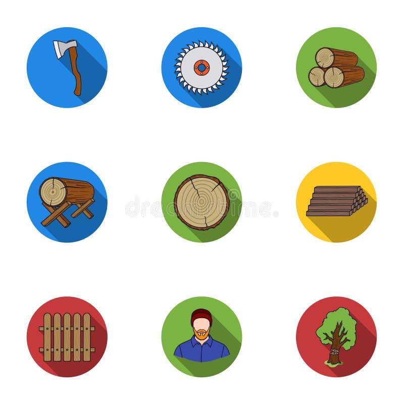 Sawmil und gesetzte Ikonen des Bauholzes in der flachen Art Große Sammlung des Sägemühlen- und Bauholzvektors lizenzfreie abbildung