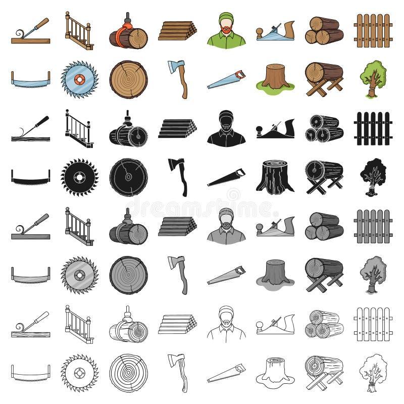 Sawmil und gesetzte Ikonen des Bauholzes in der Karikaturart Große Sammlung der Sägemühle und Bauholz vector Illustration des Sym lizenzfreie abbildung