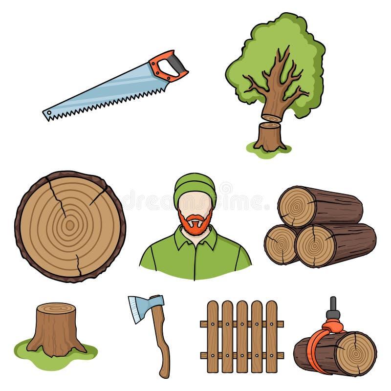 Sawmil und gesetzte Ikonen des Bauholzes in der Karikaturart Große Sammlung der Sägemühle und Bauholz vector Illustration des Sym stock abbildung