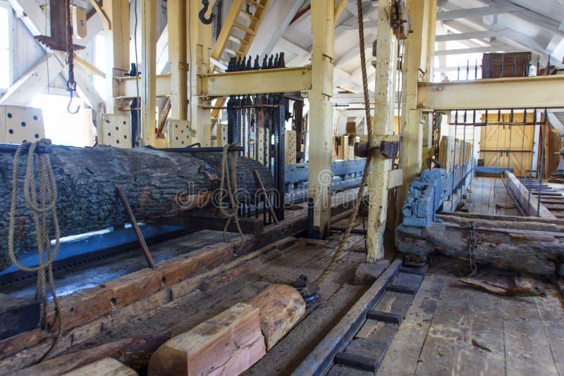 Inside a sawmill stock photography