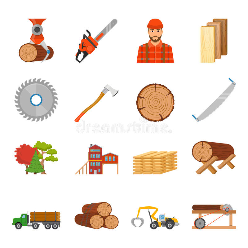 Sawmill Timber Icon Set. Sawmill timber flat isolated icons set with professional equipment tools and goods images on blank background vector illustration vector illustration