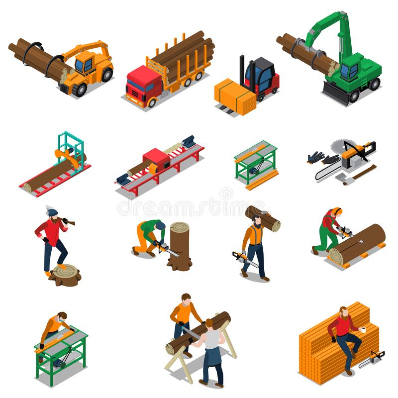 Sawmill Timber Mill Lumberjack Icon Set. Colored and isolated sawmill timber mill lumberjack isometric icon set with sawmill worker and his tools vector royalty free illustration