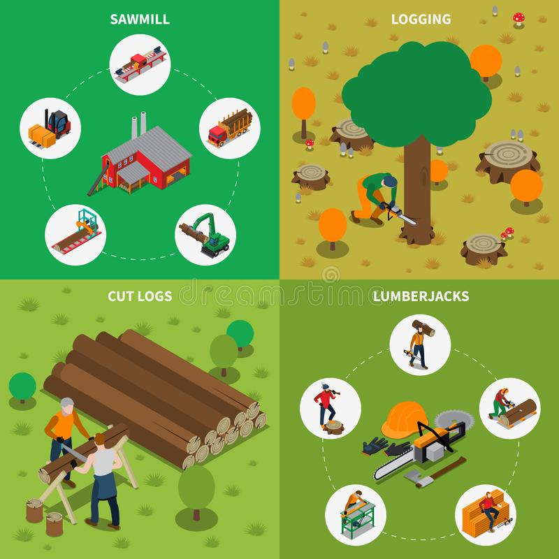 Sawmill Timber Mill Lumberjack Isometric Composition royalty free illustration
