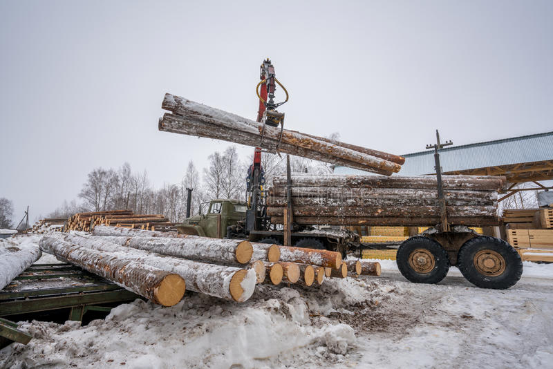 Sawmill in winter. Image of truck loading timber royalty free stock photo
