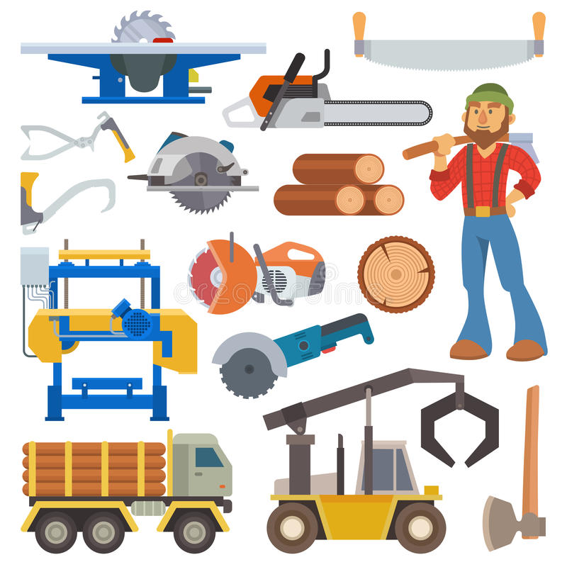 Sawmill woodcutter character logging equipment lumber machine industrial wood timber forest vector illustration. stock illustration