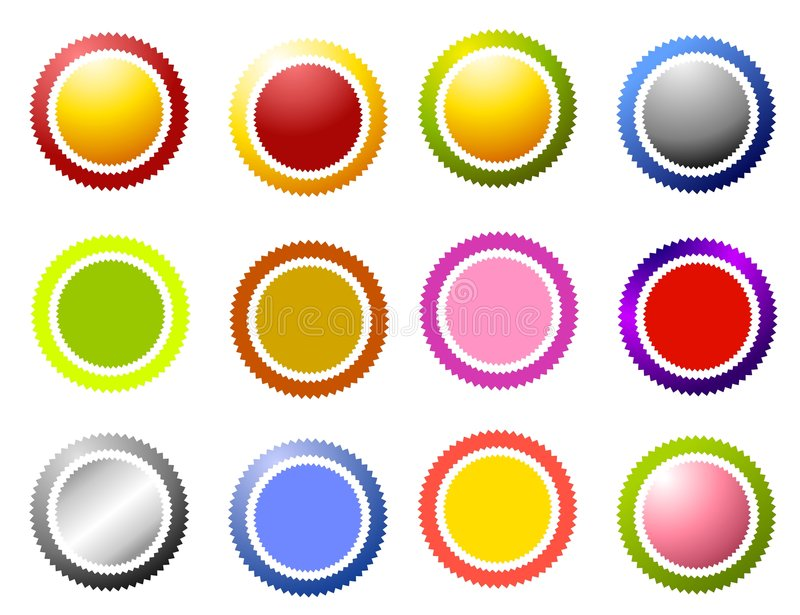 Sawtooth Edge Circles Icons vector illustration