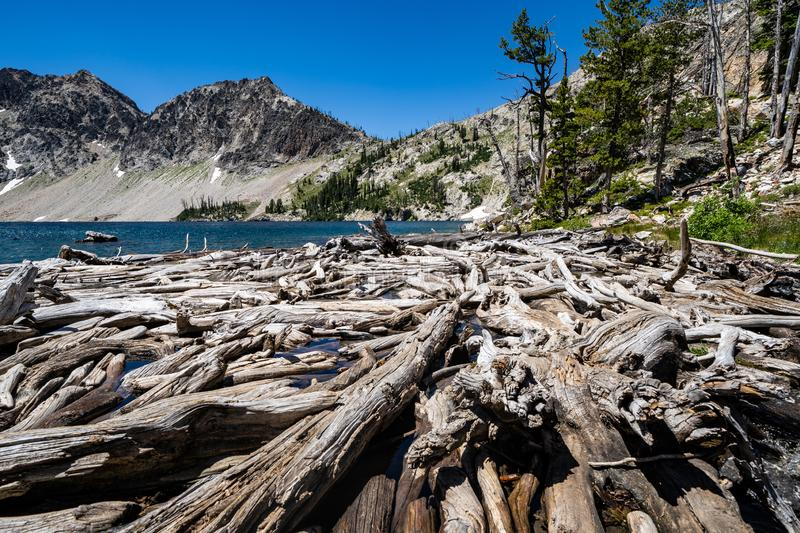 Sawtooth Lake in Idaho's Sawtooth Mountain Range in the Salmon-Challis National Forest near Stanley Idaho. Logs in foreground royalty free stock photography