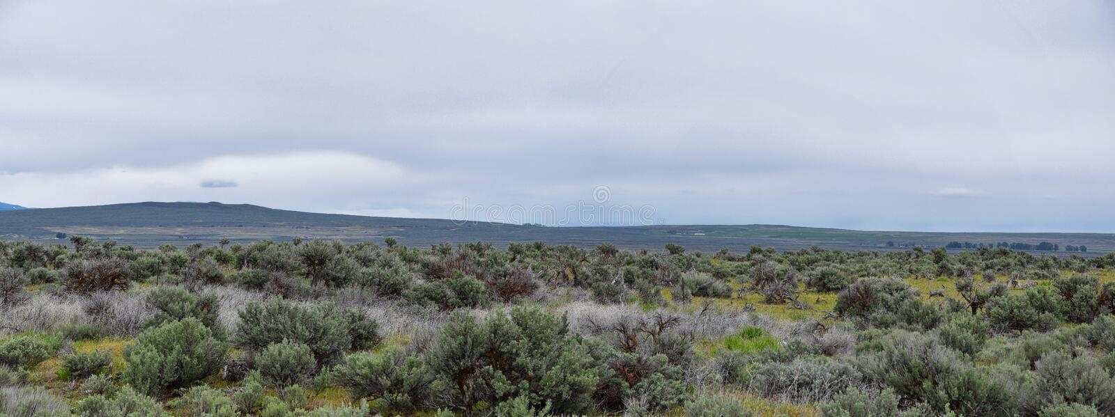 Sawtooth Mountains National Forest Landscape stormy panorama from South headed to Sun Valley, view of rural grazing land, Sagebrus. H, Lava Fields in Idaho royalty free stock photo