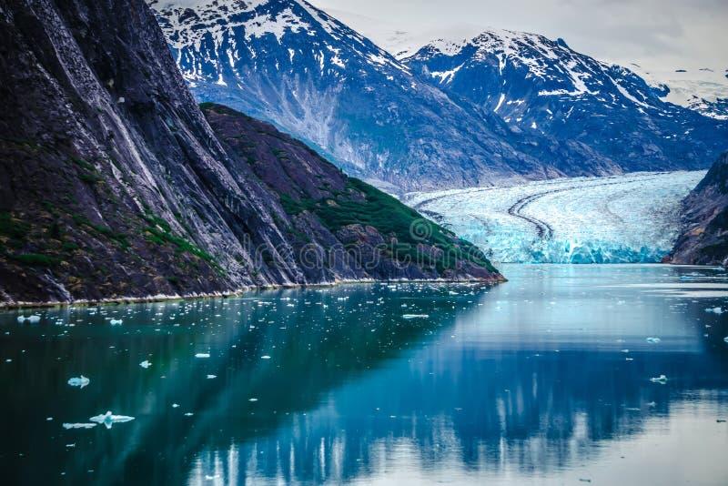 Sawyer Glacier på Tracy Arm Fjord i den alaska stekpannehandtaget royaltyfri foto