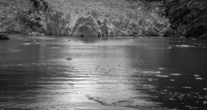 Sawyer Glacier på Tracy Arm Fjord i den alaska stekpannehandtaget royaltyfri fotografi