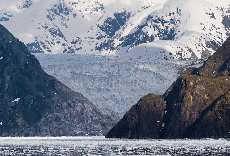 Sawyer Glacier At Tracy Arm fjord i Alaska arkivbild