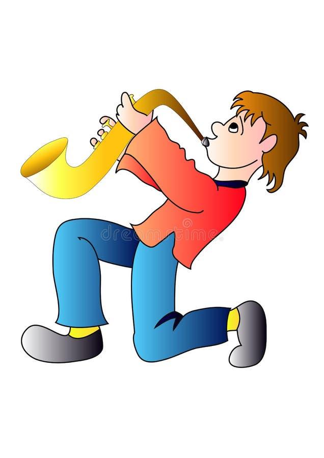 Download Sax boy stock illustration. Image of artist, cloud, horn - 7400384