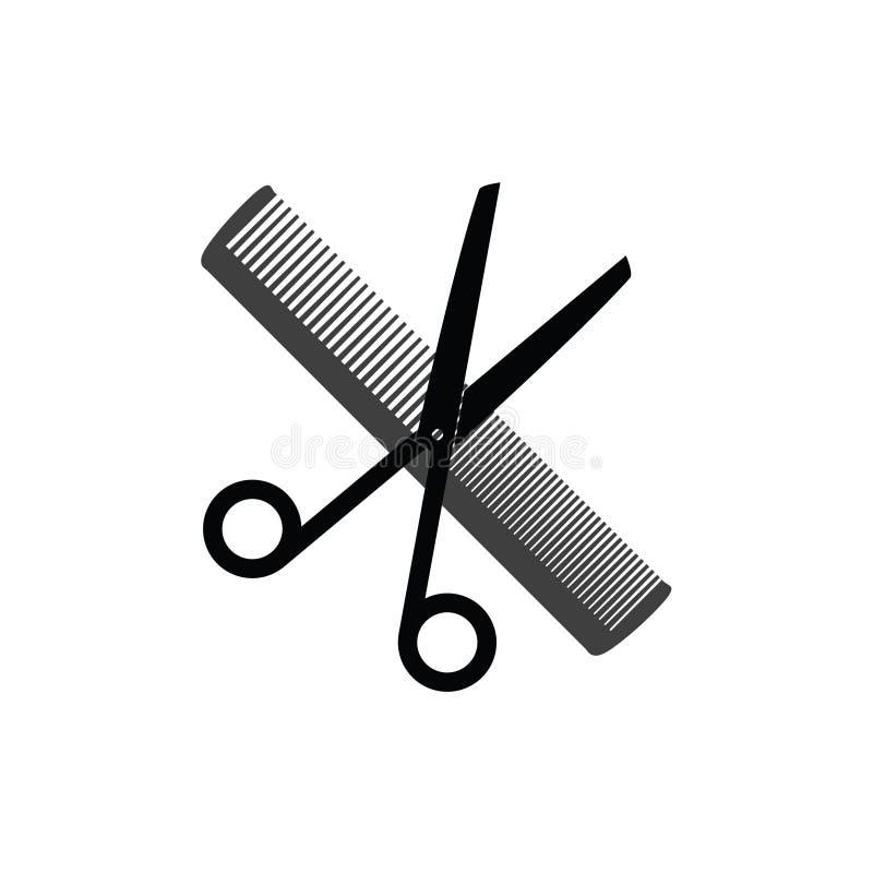 Sax och hårkamsymbol för vektor för hårsalong vektor illustrationer