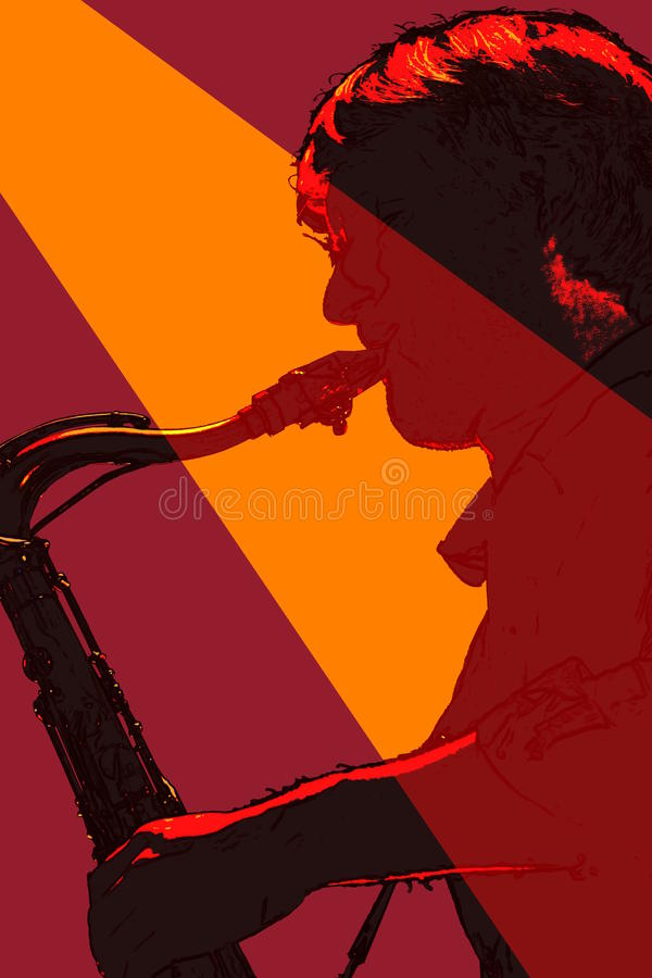 Sax player silhouetted. Saxophone player silhouetted and orange spotlight royalty free illustration