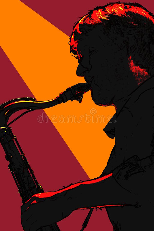 Sax player silhouetted. Saxophone player silhouetted and orange spotlight vector illustration