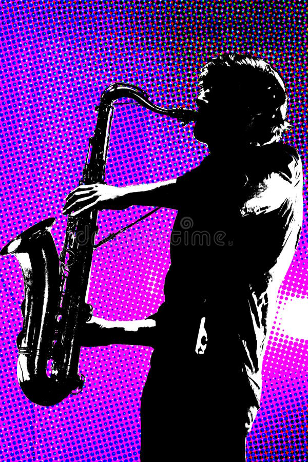 Sax player silhouetted. Saxophone player silhouetted with purple background vector illustration