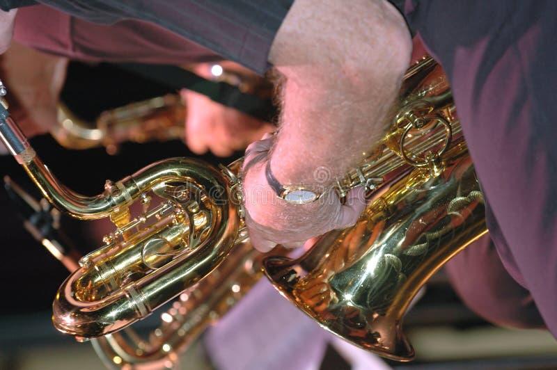 Saxaphones in concert stock photos