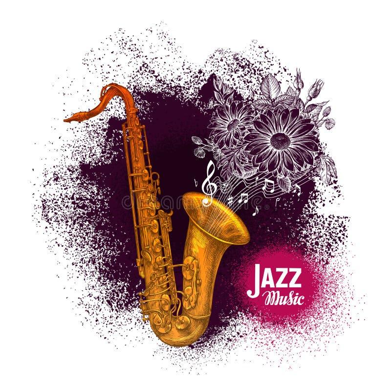 Saxofón, saxofón Ejemplo del vector de la música de jazz stock de ilustración