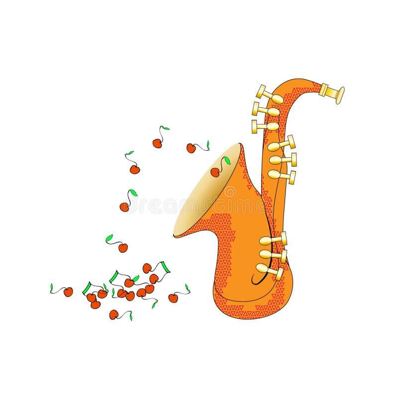 Saxofon från sidosikt i tecknad filmstil Mässingsmusikinstrumentillustration vektor Och anmärkningsflugan som frukter Rolig howev royaltyfri illustrationer