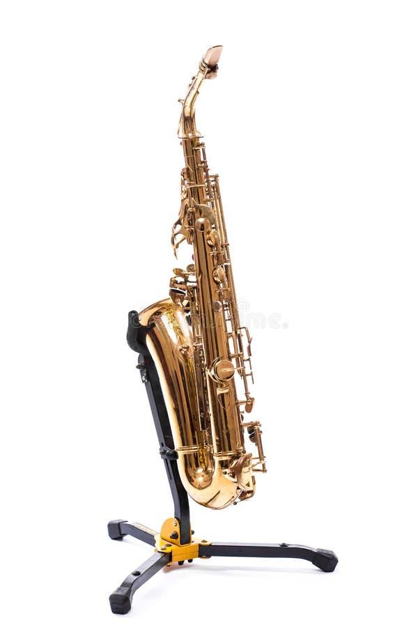 Saxofon - guld- alt- saxofon royaltyfri bild