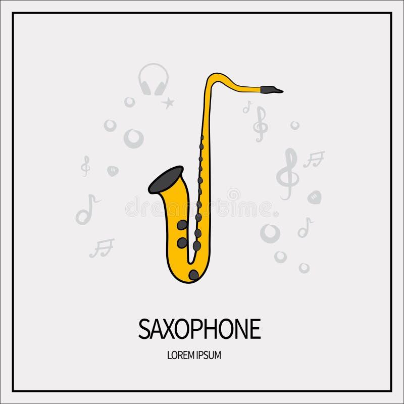Saxofon isolerad symbol royaltyfri illustrationer