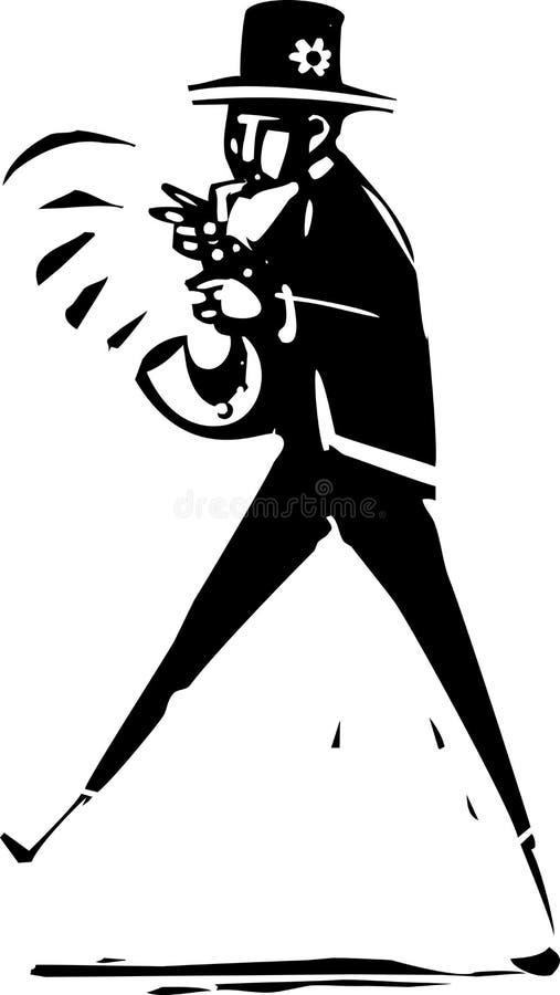 Saxofon Jazz Musician royaltyfri illustrationer