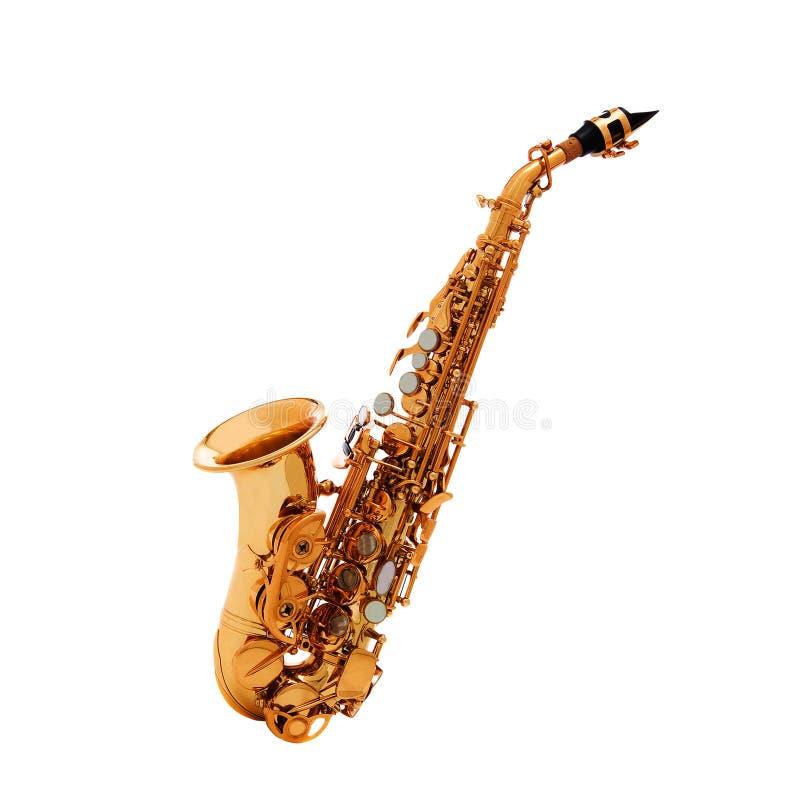 Saxofon - klassisk guld- alt- saxofon royaltyfri fotografi