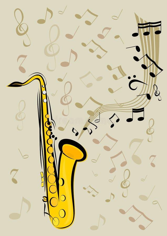 Saxofon och anmärkningar royaltyfri foto