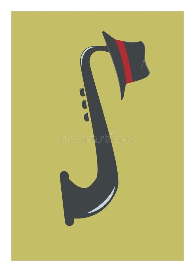 Saxofon och hatt vektor illustrationer