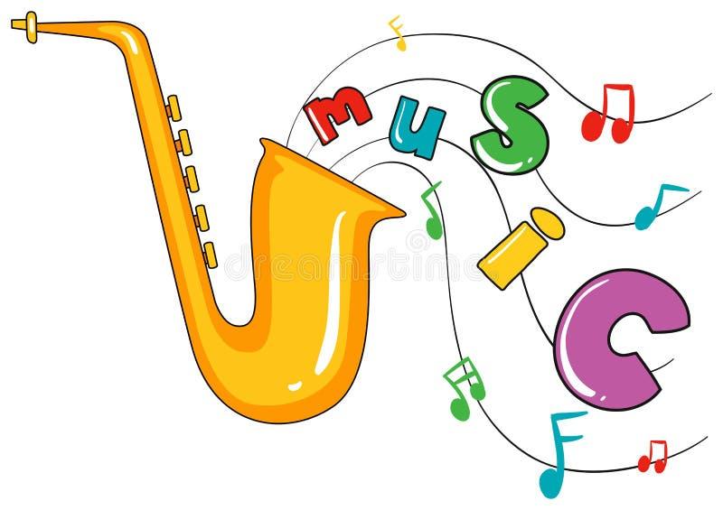 Saxofon och ordmusik på vit bakgrund stock illustrationer