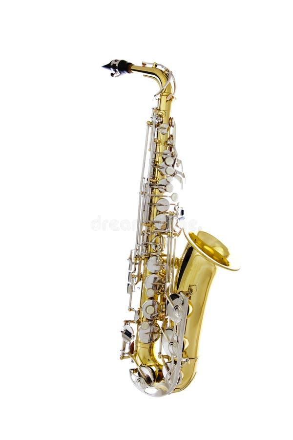 Saxofone brilhante isolado no fundo branco imagens de stock royalty free