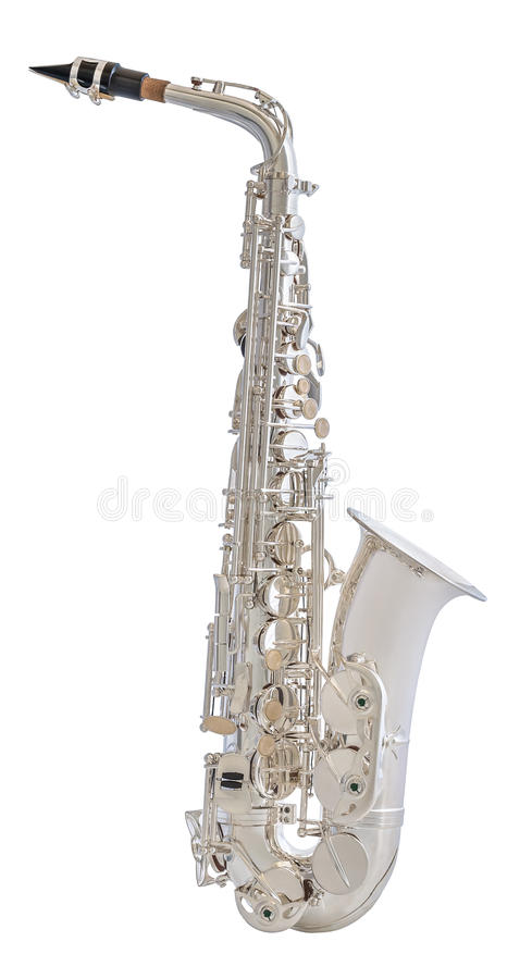 Saxofone de prata isolado no fundo branco fotografia de stock