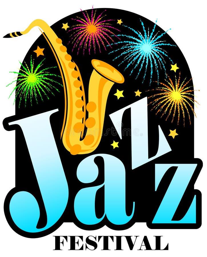 Saxofone do festival de jazz ilustração royalty free