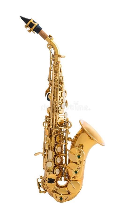 Saxofone dourado isolado no fundo branco imagem de stock