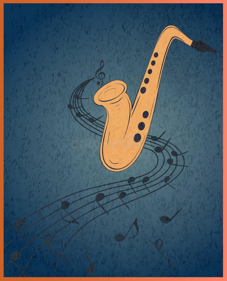 Saxofone e notas musicais no fundo azul do grunge ilustração stock