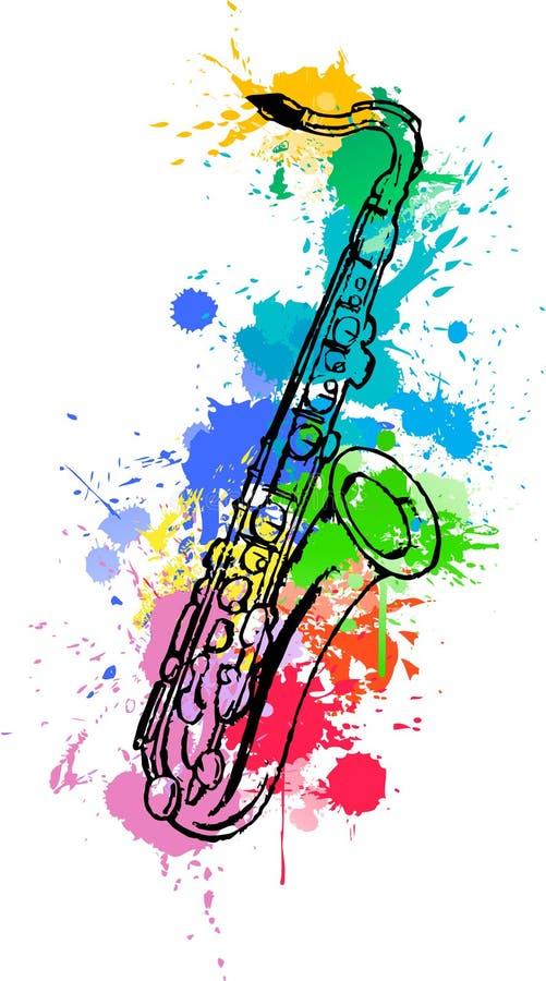 Saxofone tirado mão do jazz colorido com splats da pintura no fundo branco ilustração do vetor