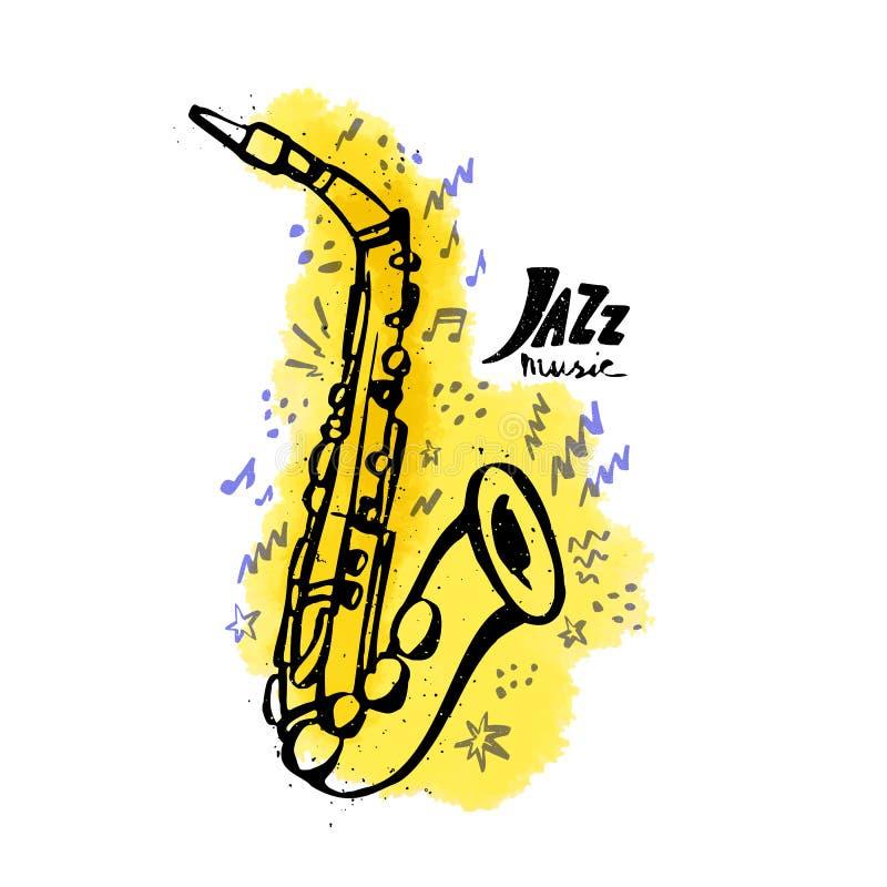 Saxofone tirado m?o Conceito da m?sica de jazz Ilustração do vetor do estilo da tinta com mancha amarela da aquarela no fundo bra ilustração stock