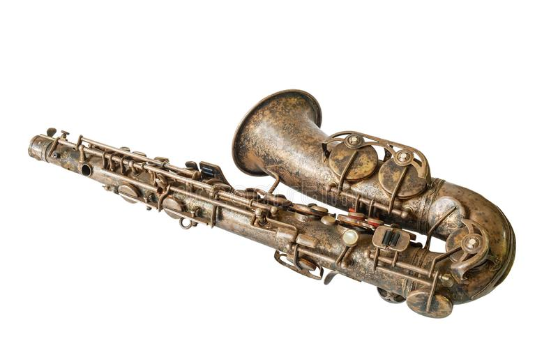 Saxofone velho fotografia de stock